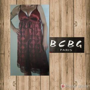🍿BCBG Paris Red Sheer With Velvet Silky Sundress